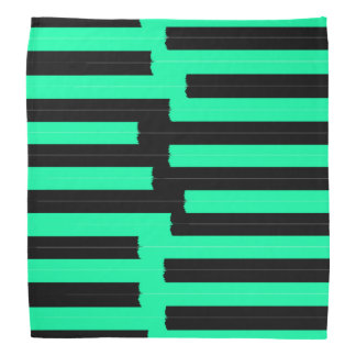 Bright Neon Teal and Black Painted Stripes Bandana