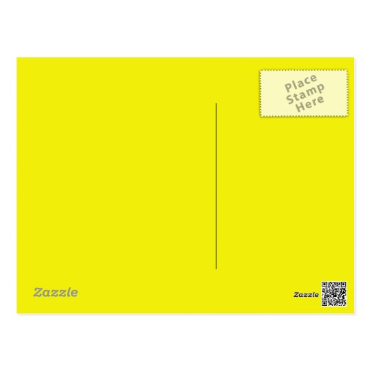 Bright Neon Yellow  background on a postcard