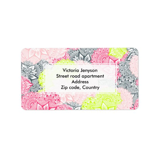 Bright neon yellow henna floral paisley pattern