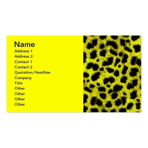 BRIGHT NEON YELLOW LEMON BLACK ANIMAL PRINT PATTER BUSINESS CARD