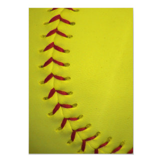 Bright Neon Yellow Softball Magnetic Invitations