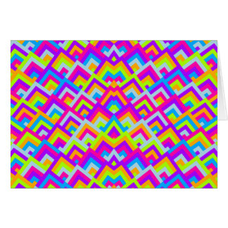 Bright Neons Zigzag Symmetric Peeks Pattern Card