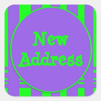 Bright New Address Stripes Square Sticker