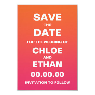 Bright Ombre Wedding Save the Date Card