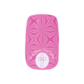 Bright or Hot Pink Zig-Zag Cross on White Minx Nail Art