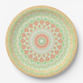 Bright Orange and Green Summer Kaleidoscope 9 Inch Paper Plate