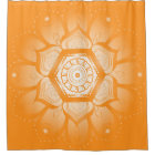 Bright Orange and White Mandala Shower Curtain