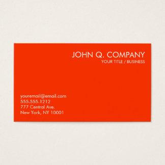 Bright Orange and White Minimal Business Card