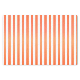 Bright Orange and White Stripes Tissue Paper