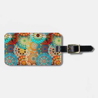 Bright orange & blue mandala design | Indian motif Luggage Tag