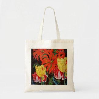 Bright Orange Botanical Vintage Oil Painting Budget Tote Bag