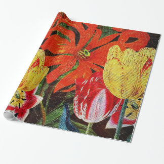 Bright Orange Botanical Vintage Oil Painting Wrapping Paper