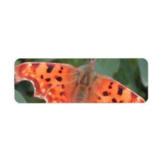 Bright orange butterfly. Comma. Return Address Label
