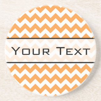 Bright Orange Chevrons - Custom Text Coaster