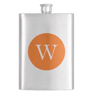 Bright Orange Circle Monogram Hip Flask