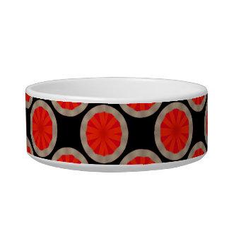 bright orange circle pattern pet water bowl