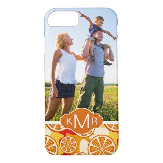 Bright Orange Citrus Pattern | Add Your Photo iPhone 8/7 Case