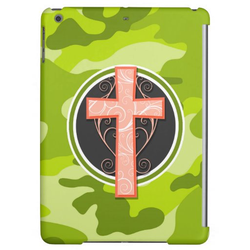 Bright Orange Cross; green camo, camouflage Case For iPad Air