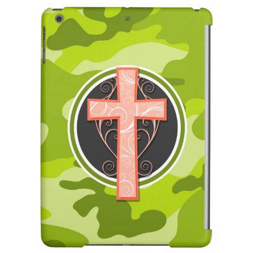 Bright Orange Cross; green camo, camouflage Case For iPad Air