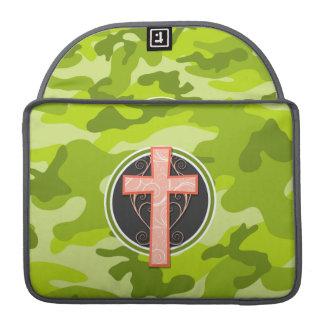 Bright Orange Cross; green camo, camouflage MacBook Pro Sleeves