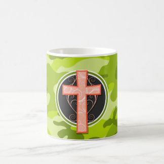 Bright Orange Cross; green camo, camouflage Mugs