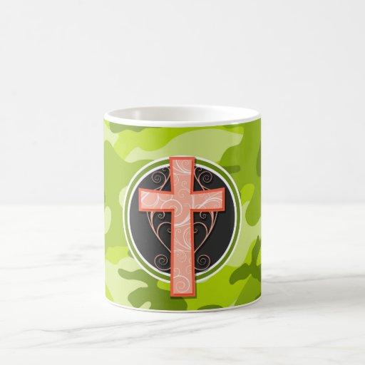 Bright Orange Cross; green camo, camouflage Mugs