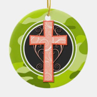 Bright Orange Cross; green camo, camouflage Christmas Ornaments