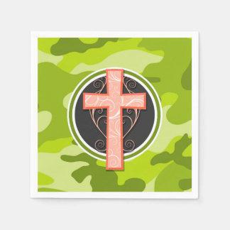 Bright Orange Cross; green camo, camouflage Disposable Napkin