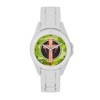 Bright Orange Cross; green camo, camouflage Wristwatch