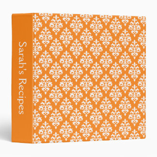 Bright Orange Damask Personalized Recipe Binder