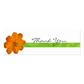 Bright Orange Floral Thank You Note Business Card
