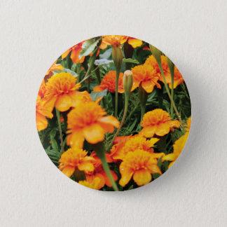 bright orange flowers 2 inch round button