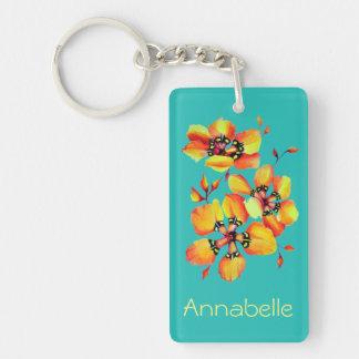 Bright Orange Flowers - Aqua Keychain
