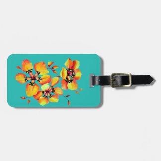 Bright Orange Flowers - Aqua Luggage Tag