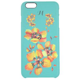 Bright Orange Flowers - Aqua- Monogram Clear iPhone 6 Plus Case