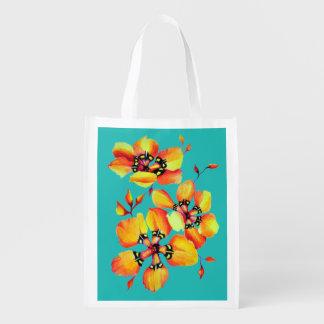 Bright Orange Flowers - Aqua Reusable Grocery Bag