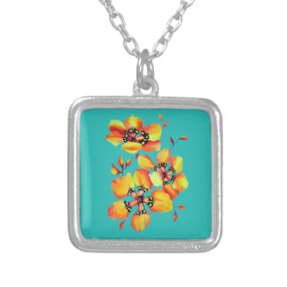Bright Orange Flowers - Aqua Silver Plated Necklace