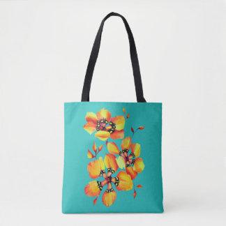 Bright Orange Flowers - Aqua Tote Bag