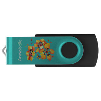 Bright Orange Flowers - Aqua USB Flash Drive