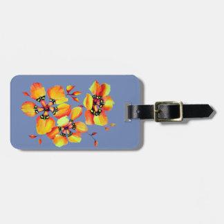 Bright Orange Flowers - Blue Grey Luggage Tag