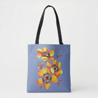 Bright Orange Flowers - Blue Grey Tote Bag