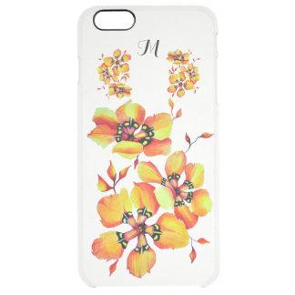 Bright Orange Flowers - Monogram Clear iPhone 6 Plus Case
