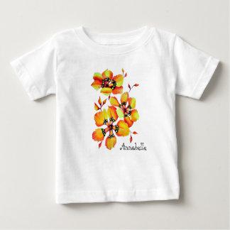 Bright Orange Flowers - Name Customization Baby T-Shirt