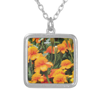bright orange flowers silver plated necklace