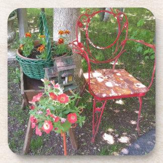 Bright orange garden chair beverage coaster