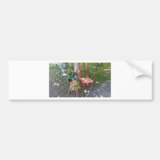 Bright orange garden chair bumper sticker