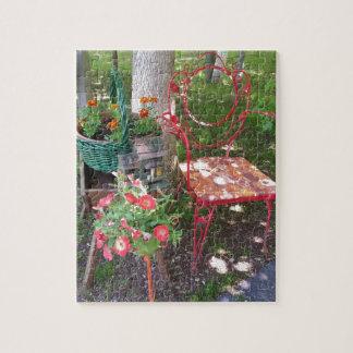 Bright orange garden chair puzzle