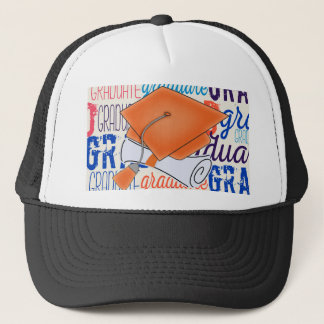 Bright Orange Graduation Cap and Diploma