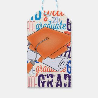 Bright Orange Graduation Cap and Diploma Gift Tags