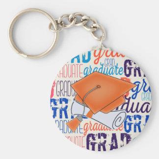 Bright Orange Graduation Cap and Diploma Keychain